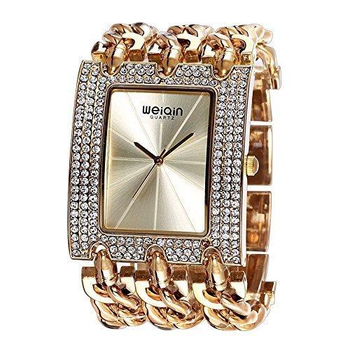 weiqin luxus uhr mit frauen l nette strahlungsbedingten linearer index und punk kette armband 278001