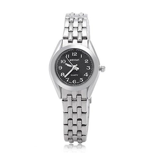 Leopard Shop WEIQIN w4368l Frauen hardlexglas Glas Spiegel Business Stil Edelstahl Armband Armbanduhr Schwarz