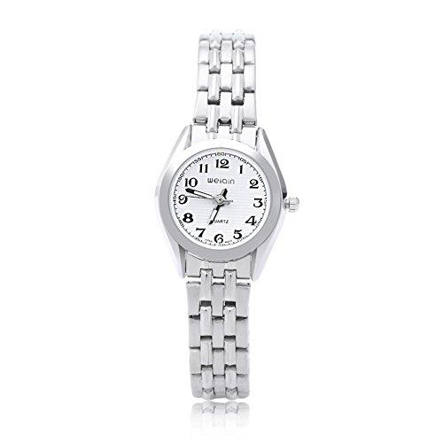 Leopard Shop WEIQIN w4368l Frauen hardlexglas Glas Spiegel Business Stil Edelstahl Armband Armbanduhr Weiss
