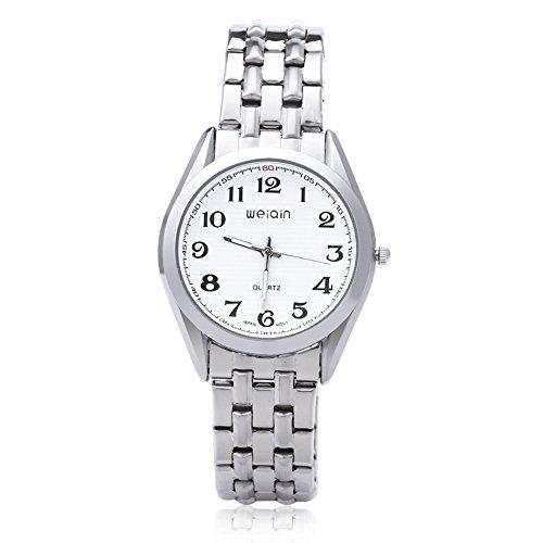 Leopard Shop WEIQIN w4368g Herren hardlexglas Glas Spiegel Business Stil Edelstahl Armband Armbanduhr Weiss