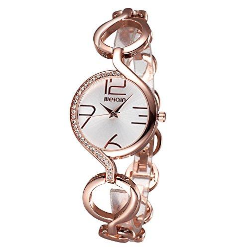 weiqin rose gold tone frauen armband uhr mit strass l nette und aush hlung der kette 206201
