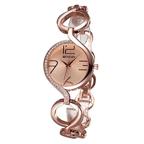 weiqin rose gold tone frauen armband uhr mit strass l nette und aush hlung der kette 206202