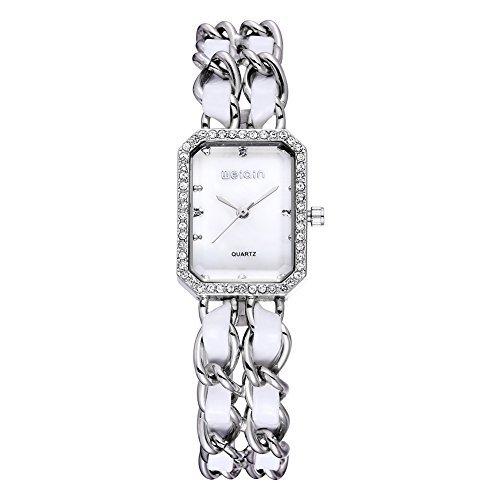 weiqin versilberten rechteck diamond damenuhr mit leder und metall check 272306