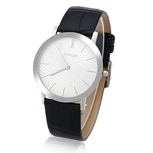 Leopard Shop WEIQIN W2242 Herren Quarz Armbanduhr superduenn Zifferblatt Leder Band Kuenstliche Saphir Glas Spiegel Armbanduhr 2