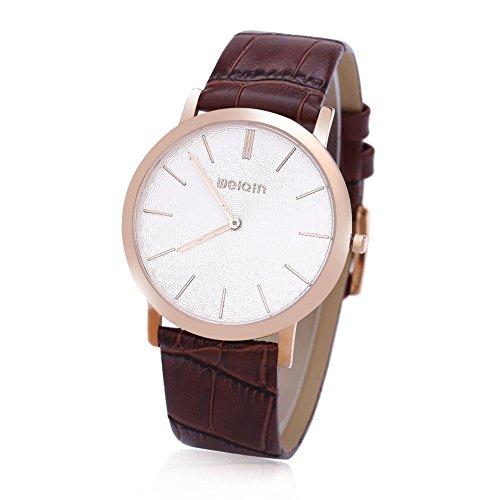 Leopard Shop WEIQIN W2242 Herren Quarz Armbanduhr superduenn Zifferblatt Leder Band Kuenstliche Saphir Glas Spiegel Armbanduhr 4
