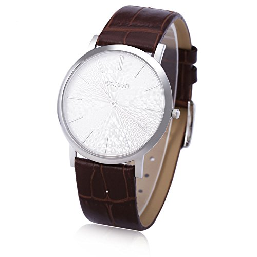 Leopard Shop WEIQIN W2242 Herren Quarz Armbanduhr superduenn Zifferblatt Leder Band Kuenstliche Saphir Glas Spiegel Armbanduhr 3