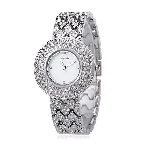 Leopard Shop WEIQIN w4243 weiblich Quarzuhr Edelstahl Band Armbanduhr Kuenstliche Kristall Diamant Zifferblatt 1