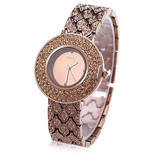 Leopard Shop WEIQIN w4243 weiblich Quarzuhr Edelstahl Band Armbanduhr Kuenstliche Kristall Diamant Zifferblatt 6