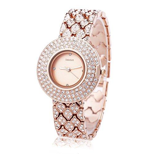 Leopard Shop WEIQIN w4243 weiblich Quarzuhr Edelstahl Band Armbanduhr Kuenstliche Kristall Diamant Zifferblatt 5