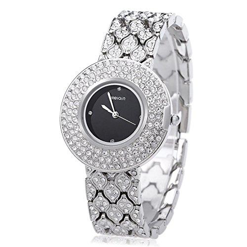 Leopard Shop WEIQIN w4243 weiblich Quarzuhr Edelstahl Band Armbanduhr Kuenstliche Kristall Diamant Zifferblatt 2
