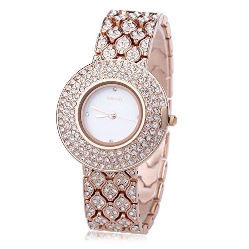 Leopard Shop WEIQIN w4243 weiblich Quarzuhr Edelstahl Band Armbanduhr Kuenstliche Kristall Diamant Zifferblatt 3