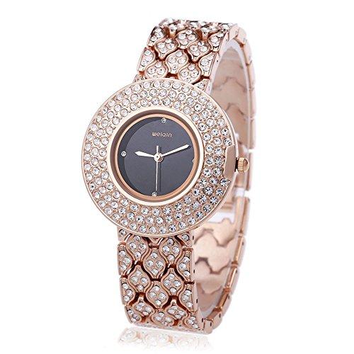 Leopard Shop WEIQIN w4243 weiblich Quarzuhr Edelstahl Band Armbanduhr Kuenstliche Kristall Diamant Zifferblatt 4