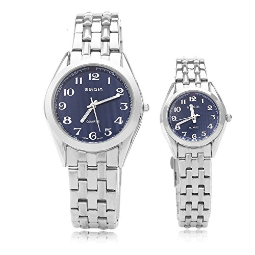 Leopard Shop WEIQIN w4368 Paar Quarzuhr hardlexglas Glas Spiegel Business Style Edelstahl Strap Armbanduhr Blau