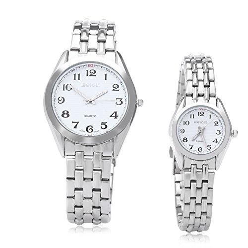 Leopard Shop WEIQIN w4368 Paar hardlexglas Glas Spiegel Business Stil Edelstahl Armband Armbanduhr Weiss