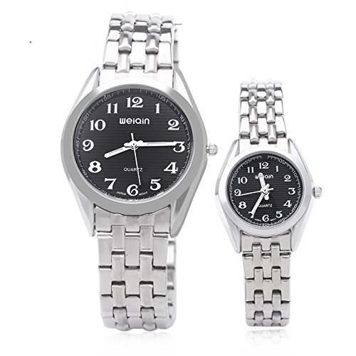 Leopard Shop WEIQIN w4368 Paar hardlexglas Glas Spiegel Business Stil Edelstahl Armband Armbanduhr Schwarz