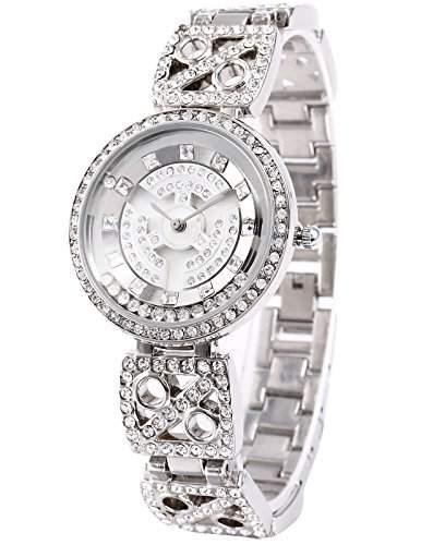 AMPM24 Silber Damen Uhr Drehen Zifferbaltt Analog Quarzuhr Edelstahl Armband Uhr