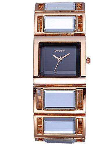 Wunderschoen und stilvolle Damen crystal accented Gold Spiegel Armband Armbanduhr