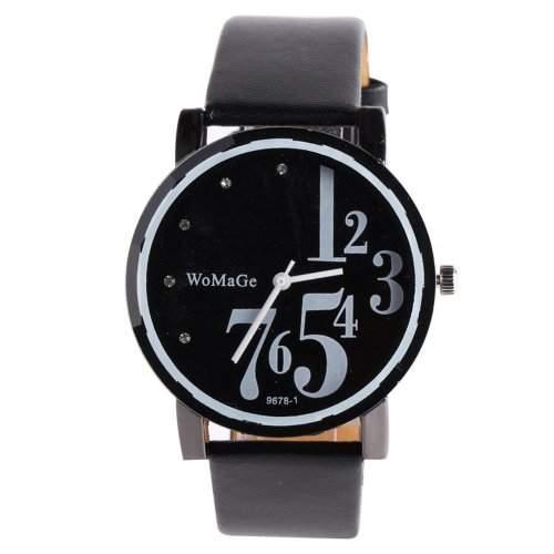 YESURPRISE Leder Armbanduhr Quarz Damen Kinder Uhr Damenuhr Unisex mit Ziffer Geschenk Gift schwarz watch