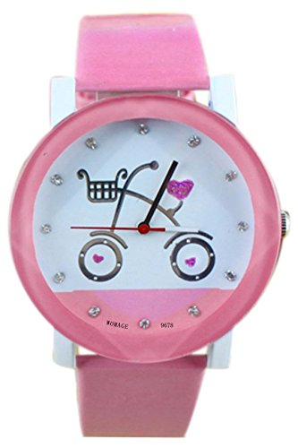 Armbanduhr WOMAGE Armbanduhr in Fahrrad Pattern Quartz Qurtzuhr Rosa
