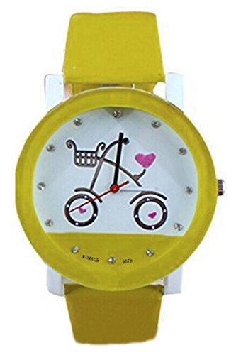 Armbanduhr WOMAGE Armbanduhr in Fahrrad Pattern Quartz Qurtzuhr Gelb