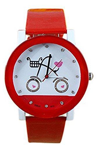 Armbanduhr WOMAGE Armbanduhr in Fahrrad Pattern Quartz Qurtzuhr Rot