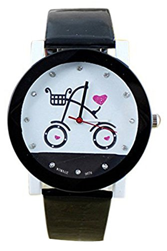 Armbanduhr WOMAGE Armbanduhr in Fahrrad Pattern Quartz Qurtzuhr Schwarz