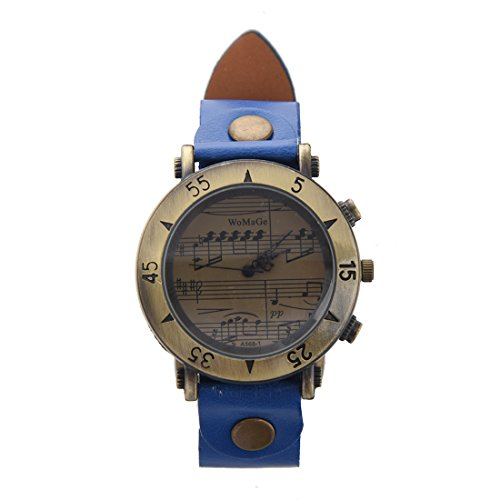 Armbanduhr WOMAGE Damen Klavier partitur Quarz Metall Zifferblatt Armbanduhr Koenigsblau