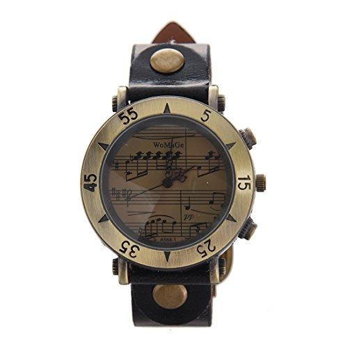Armbanduhr WOMAGE Damen Klavier partitur Quarz Metall Zifferblatt Armbanduhr Schwarz