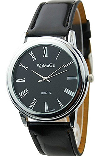 WOMAGE Einfache Roemische Ziffern Maenner Geschaeft Guertel Uhr schwarz