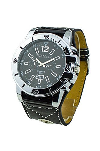 WoMaGe Maenner Fashion Zifferblatt Quarz Stahl Armbanduhr schwarz