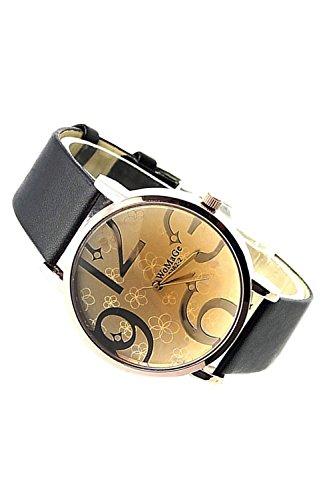 WOMAGE Fashion Edelstahl Quarz Uhr Armbanduhr Schwarz