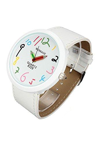 WOMAGE Frauen Case Maedchen Weisse Bleistift Armbanduhr
