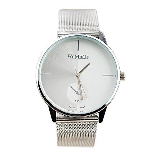 WOMAGE Klassische Damen Quarz Edelstahl Armbanduhr Weiss