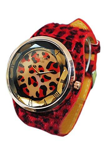 WoMaGe Damen Leopard Musterdruck Kunstleder Buegel Armbanduhr Rot