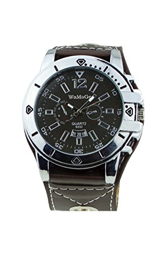 WoMaGe Maenner Fashion Zifferblatt Quarz Stahl Armbanduhr braun