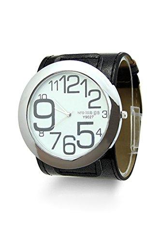 WoMaGe Maenner Grosser Case Quarz Leder Armbanduhr schwarz