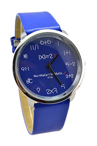 WoMaGe Mathematik Zifferblatt Damen Quarz Mode Armbanduhr Dunkelblau