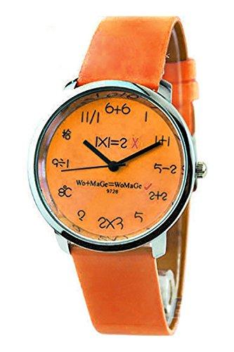 WoMaGe Mathematik Zifferblatt Damen Quarz Mode Armbanduhr Orange