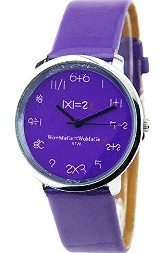 WoMaGe Mathematik Zifferblatt Damen Quarz Mode Armbanduhr Lila