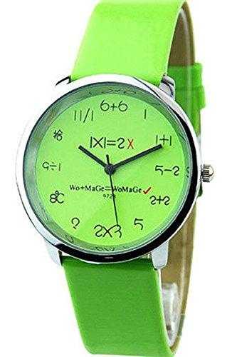 WoMaGe Mathematik Zifferblatt Damen Quarz Mode Armbanduhr Gruen