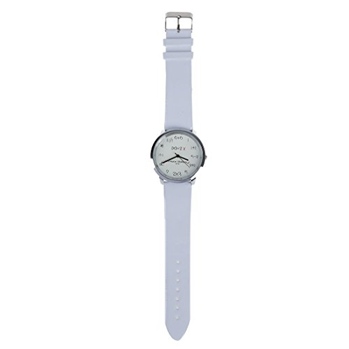 WoMaGe Mathematik Zifferblatt Damen Quarz Mode Armbanduhr Weiss