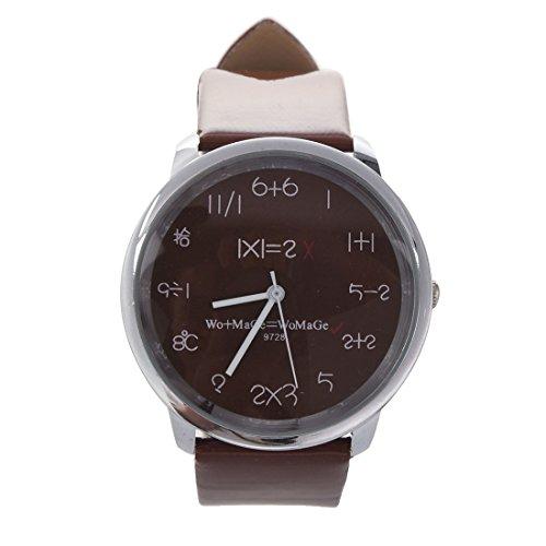 WoMaGe Mathematik Zifferblatt Damen Quarz Mode Armbanduhr Braun