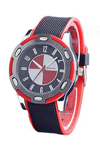 WoMaGe Gummi Unisex Fashion Stil Handgelenk Quarzuhr Rot