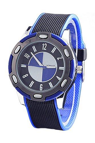 WoMaGe Gummi Unisex Fashion Stil Handgelenk Quarzuhr Blau