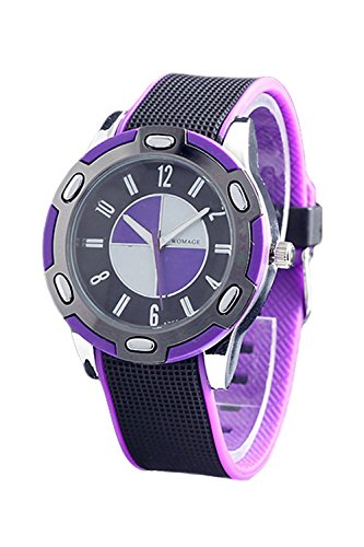 WoMaGe Gummi Unisex Fashion Stil Handgelenk Quarzuhr Lila
