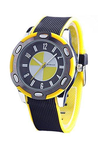 WoMaGe Gummi Unisex Fashion Stil Handgelenk Quarzuhr Gelb