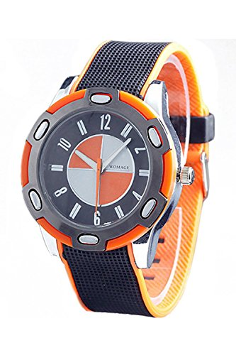 WoMaGe Gummi Unisex Fashion Stil Handgelenk Quarzuhr Orange