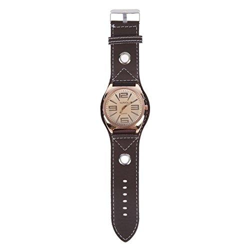 WOMAGE Mode Unisex Quarz Leder Armbanduhr Braun