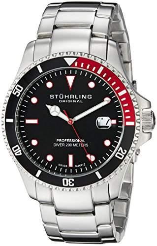 Stuhrling Original Herren 8326B331164 Aquadiver Regatta Elite Swiss Quartz Diver Date Red Bezel Armbanduhr