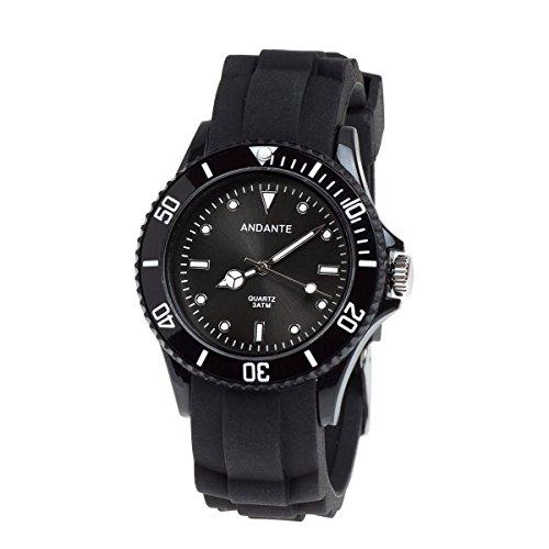 Andante Sportliche Wasserdichte Unisex Armbanduhr Silikon Uhr Quarz 3ATM SCHWARZ AS 5002